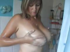 Mature juggs get soaped for you