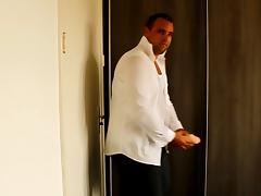 J-Art male solo 12 inch cock dildo white shirt 2