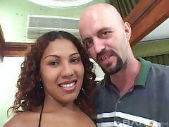 Mesmerizing Latina having her nice ass fondled before being drilled hardcore in an interracial sex