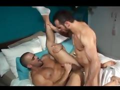 Toned gay hunks in cock slobbering and gay fucking fun