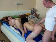 OldNanny Group Sex - threesome young girl with mature