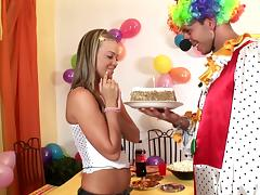 A horny clown fucks a hot chick during a wild party