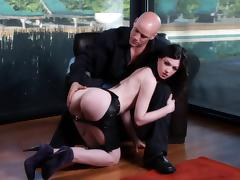 Stunning Stoya wears leather chaps while blowing then riding her man