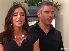 During an office party a MILF gets fucked and swallows some cum