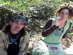 An amateur hippie couple gets naked and fucks out in the forest