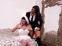 Lesbian big tits porn stars celebrate a femdom honeymoon