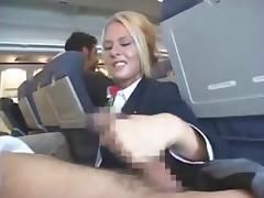 Stewardess Handjob and Blowjob