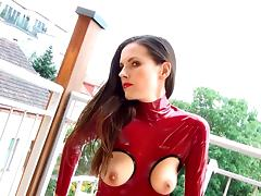 Catsuit, Amateur, Catsuit, Latex, Masturbation, Red
