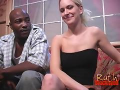 Cock crazed white girls sharing a black cock and swapping his cum