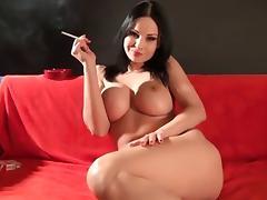 Strip, Smoking, Strip, Tits, Cigarette