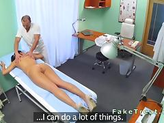 Doctor massages his nurse in fake hospital