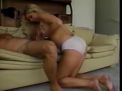 Hot blonde gets fucked in her lounge
