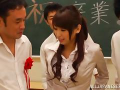 A cute Japanese teacher gets gangbanged by her students