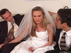 Beautiful bride cuckolds her loser husband on their wedding day