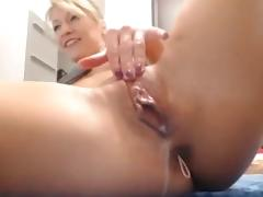 hot blonde play dildo and anal beads with creamy pussy