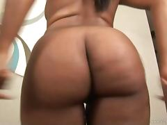 Angelic solo model ebony stripteasing while displaying her black butt