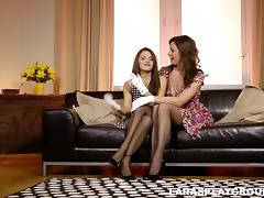 Two cougar lesbian lick and finger each other in a reality shoot