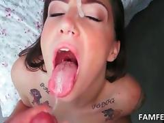Slutty GF fellating and jumping dick swallows messy cum