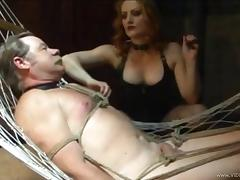 Tortured man in bondage with his cock getting superb fetish in BDSM sex