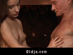 Blowing and old man with glasses and riding his cock