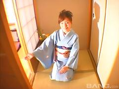 Undressing her kimono to get pounded nice and deep