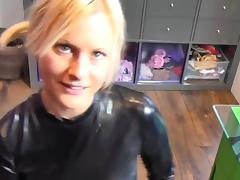 Blonde german in black spandex
