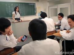 Japanese teacher and her students have a gangbang in class