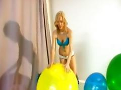 Balloon, Balloon, Blonde, Fetish, Sex, Strip
