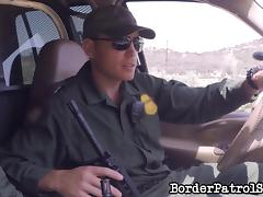 Bad girl arrested at the border fucks him to avoid trouble