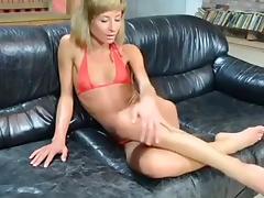 All, Blonde, Fingering, Leather, Masturbation, Small Tits