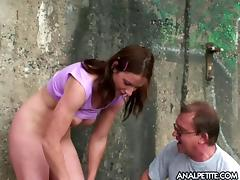 Old rifle owner fucks busty redhead in her poopchute and shaved cunt outdoors