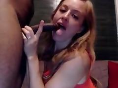 white angel takes a black dick and cum on the face