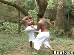 Tattooed black guy gets ass fucked by his sparring partner