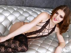 Fabulous tranny model in stockings masturbates in a solo shoot