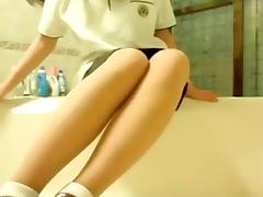 Youthful oriental hotty masturbation