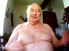 big belly grandpa show his body and stroke