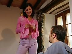 Vivacious brunette milf fingers her anal before being slammed