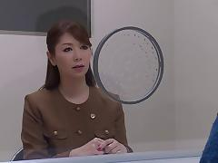 Crazy Asian lawyer fingers her pussy while in court