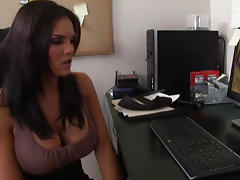 Office, Big Tits, Blowjob, Brunette, Masturbation, Office