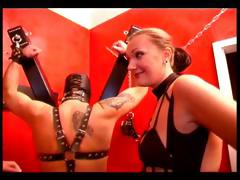 Two femdoms in a hot BDSM action