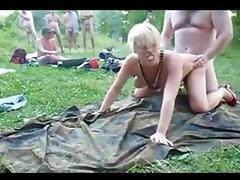 Outdoor lake amateur creampie gang bang