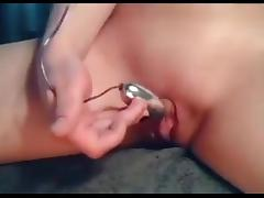Rubbing her Big Clitoris until orgasm