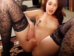MargauxSwan: Nipple clamps and glass dildo cumshow