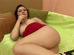 Yellow dildo and a pretty girl with perky titties fucking