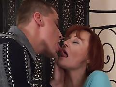 Mom and Boy, Mature, Old, Redhead, Stockings, Old and Young