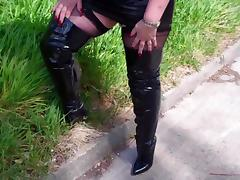 Black Granny, BBW, Black, Boots, British, Chubby