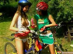 Biker, Biker, Lesbian, Outdoor, Panties, Riding