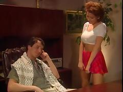 Sluty receptionist gets her pussy fucked by her manager