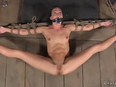 Wenona is tied up and her pussy attacked with a big black vibrator