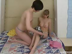 Crazy lesbian session with two Russian pussy-loving senoritas